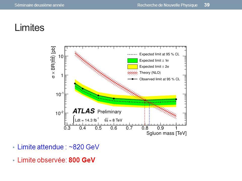 Limites Limite attendue : ~820 GeV Limite observée: 800 GeV