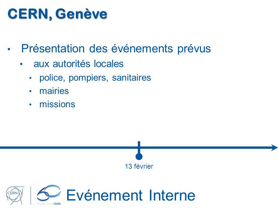 Evénement Interne CERN, Genève Présentation des événements prévus