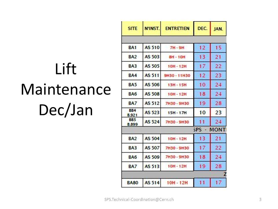 Lift Maintenance Dec/Jan