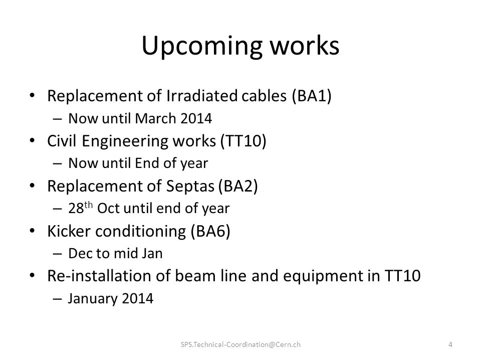 Upcoming works Replacement of Irradiated cables (BA1)