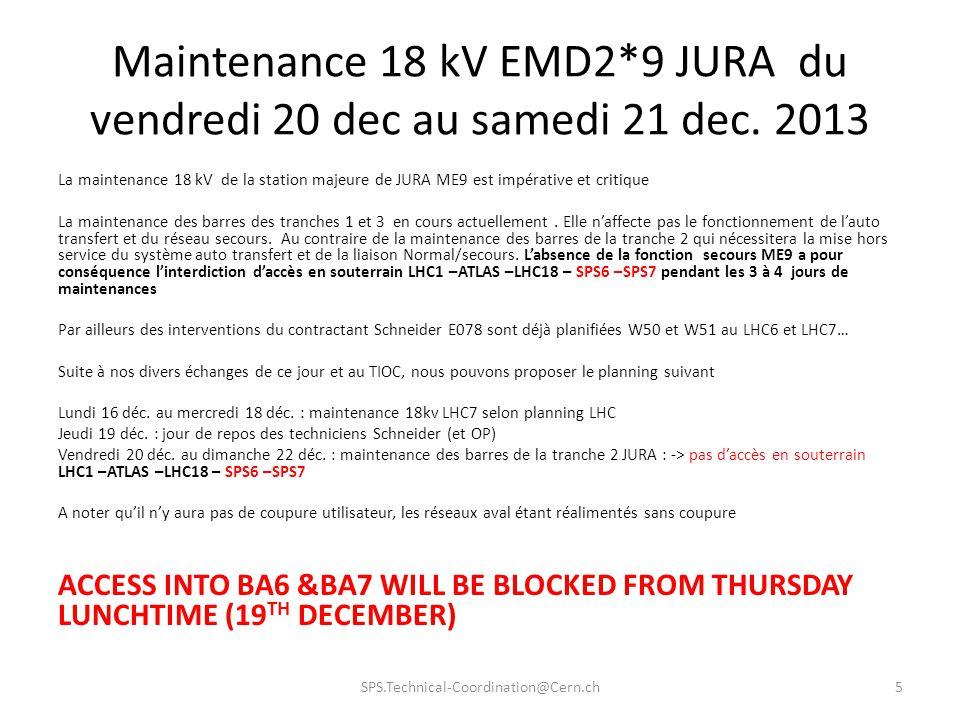 Maintenance 18 kV EMD2. 9 JURA du vendredi 20 dec au samedi 21 dec