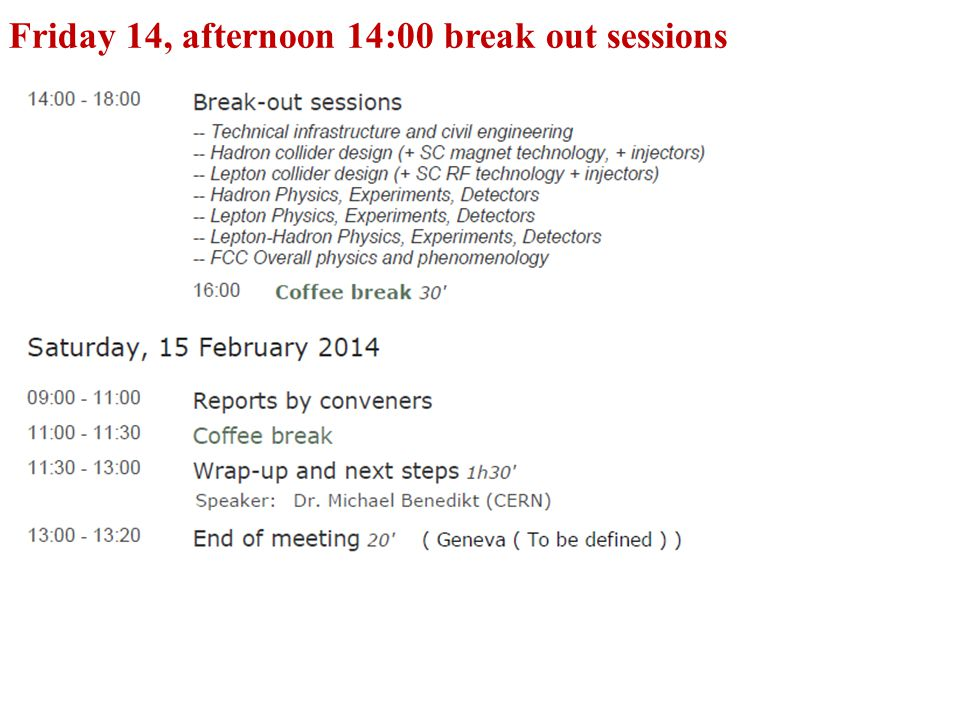 Friday 14, afternoon 14:00 break out sessions