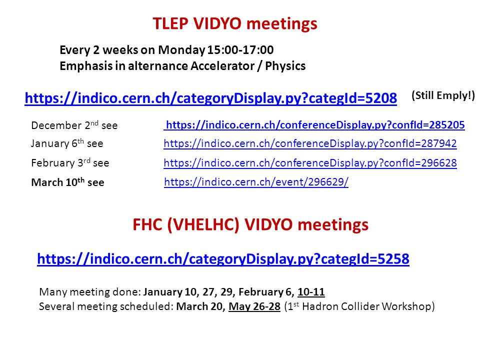 FHC (VHELHC) VIDYO meetings