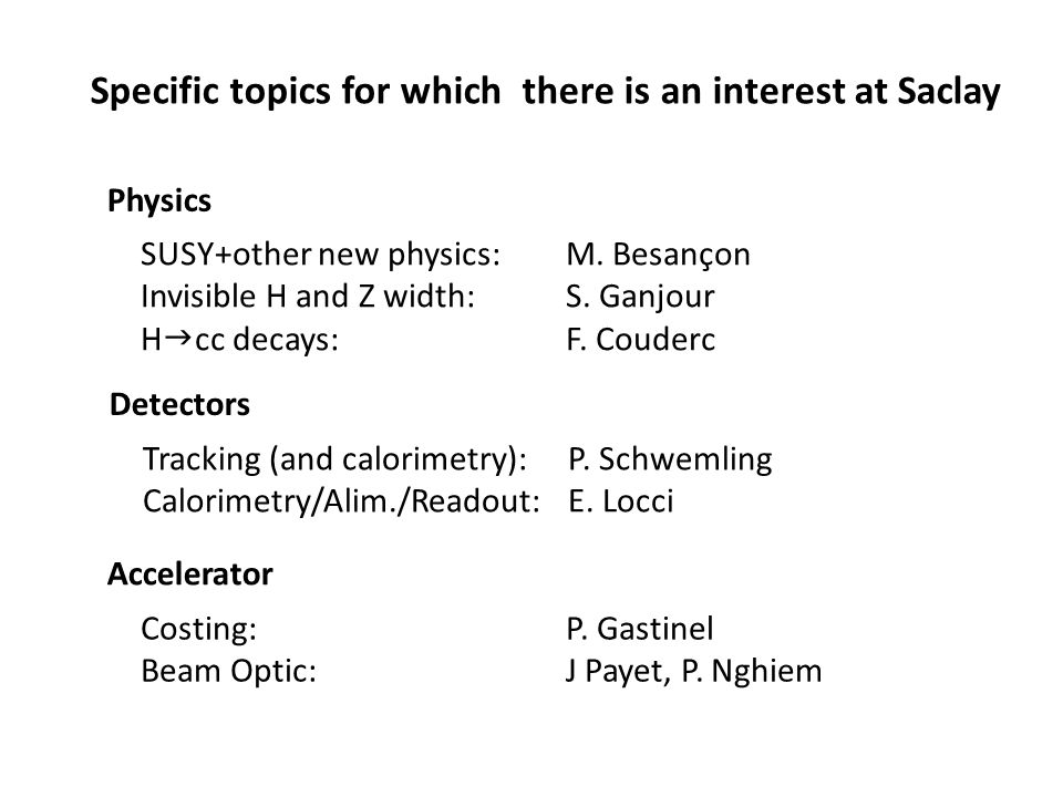 Specific topics for which there is an interest at Saclay