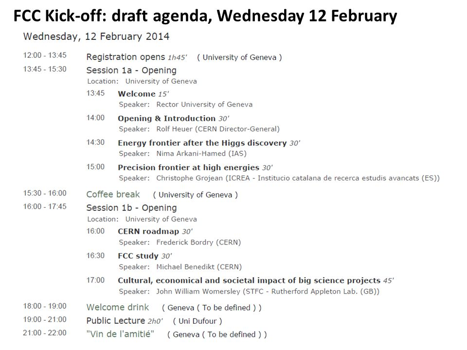 FCC Kick-off: draft agenda, Wednesday 12 February