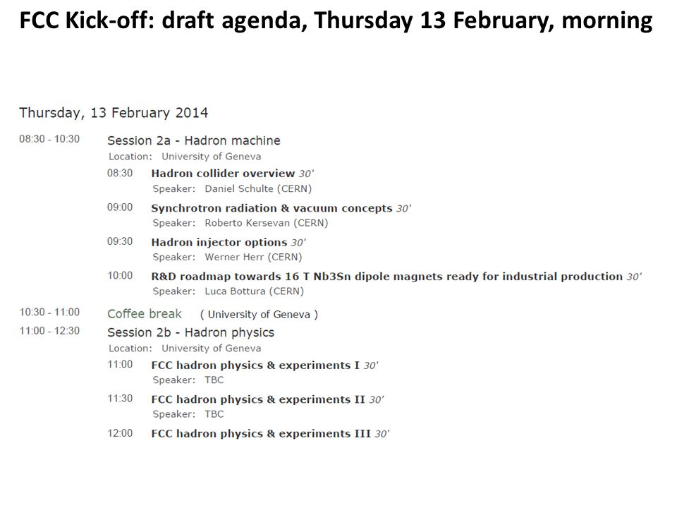 FCC Kick-off: draft agenda, Thursday 13 February, morning