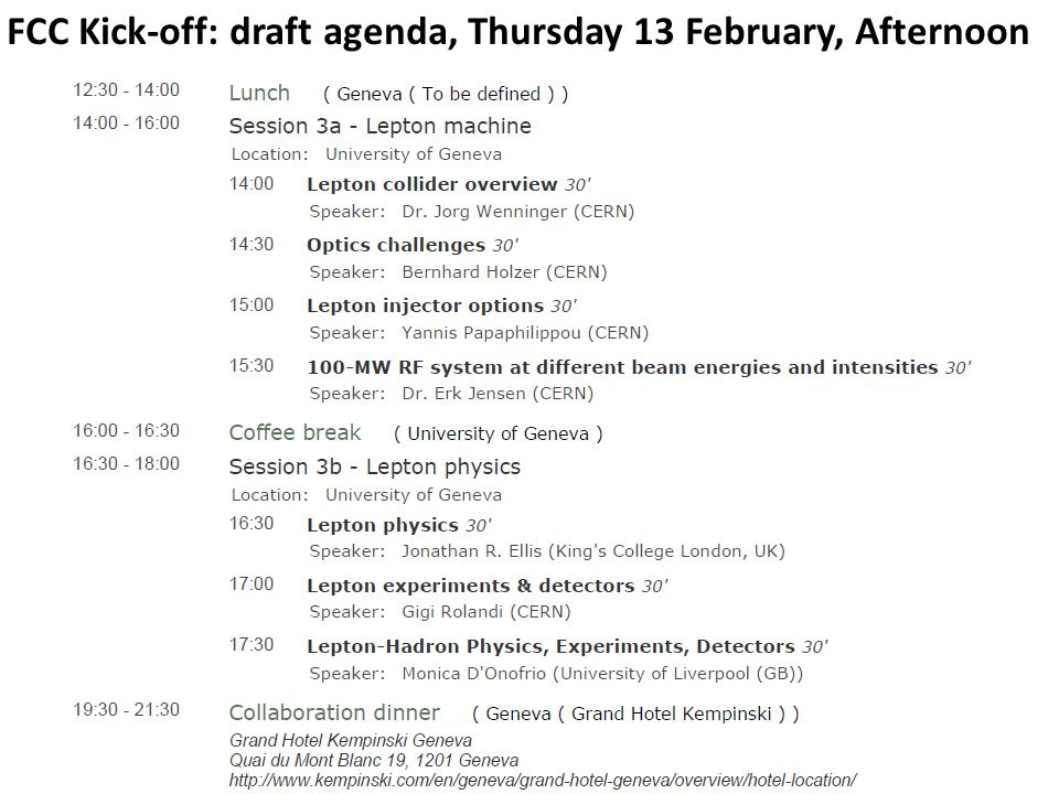 FCC Kick-off: draft agenda, Thursday 13 February, Afternoon