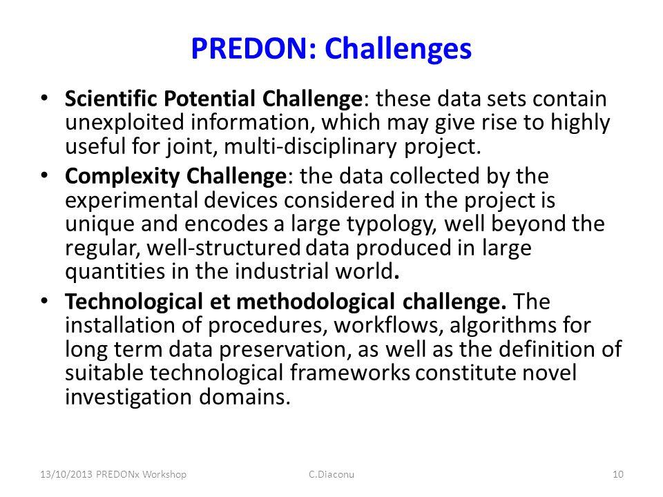 PREDON: Challenges