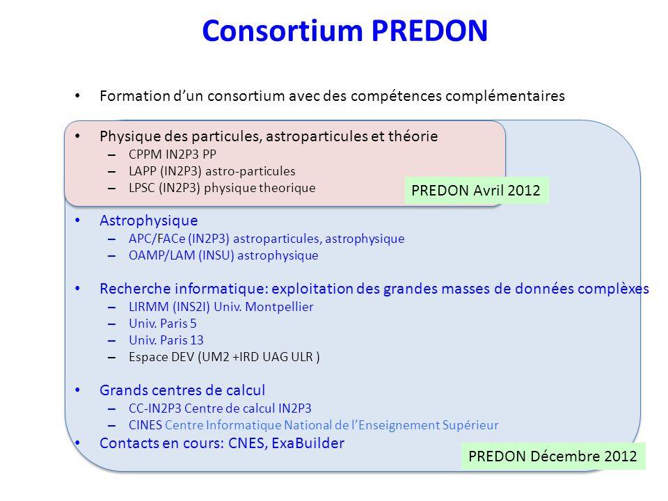 Consortium PREDON Formation d'un consortium avec des compétences complémentaires. Physique des particules, astroparticules et théorie.