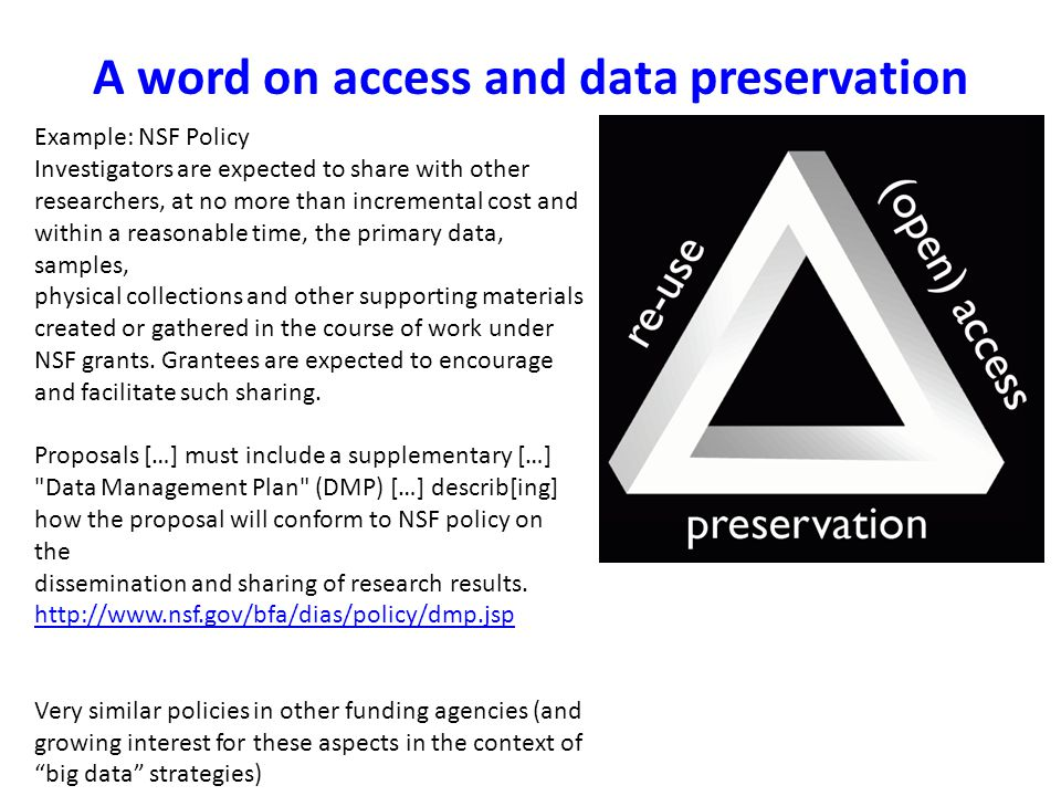 A word on access and data preservation