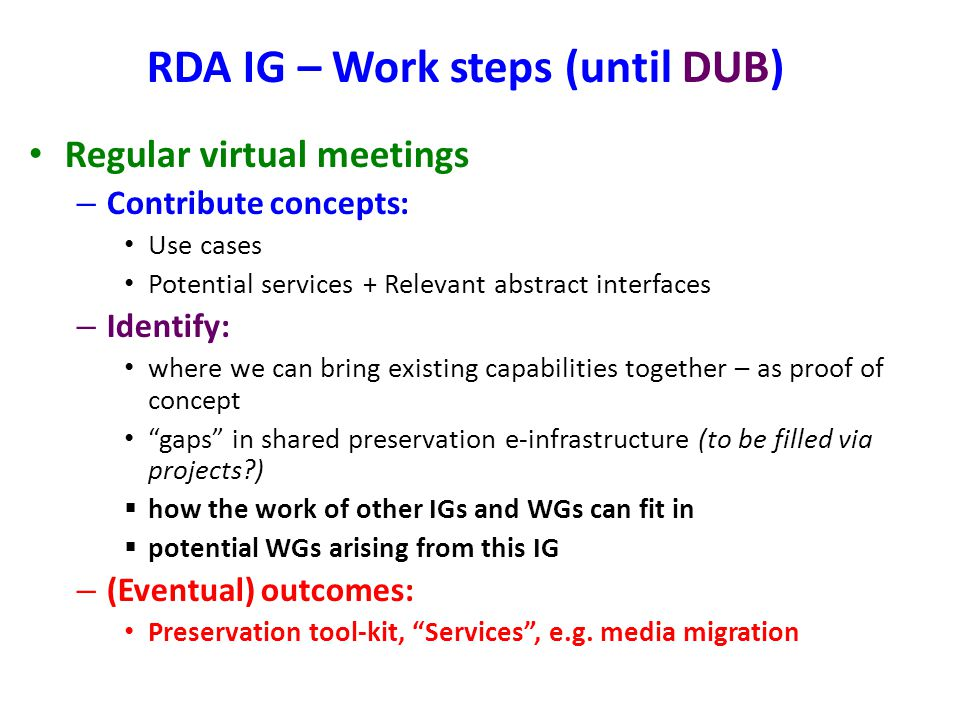 RDA IG – Work steps (until DUB)