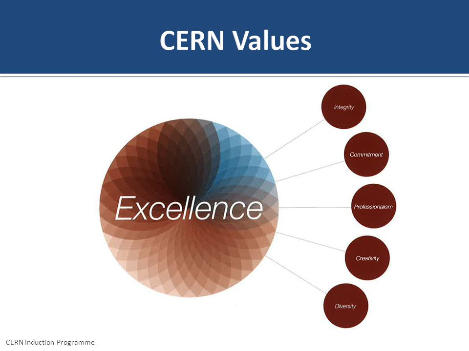 CERN Values We just talked about transparency. Our Organisation has also explicit values which drive excellence.