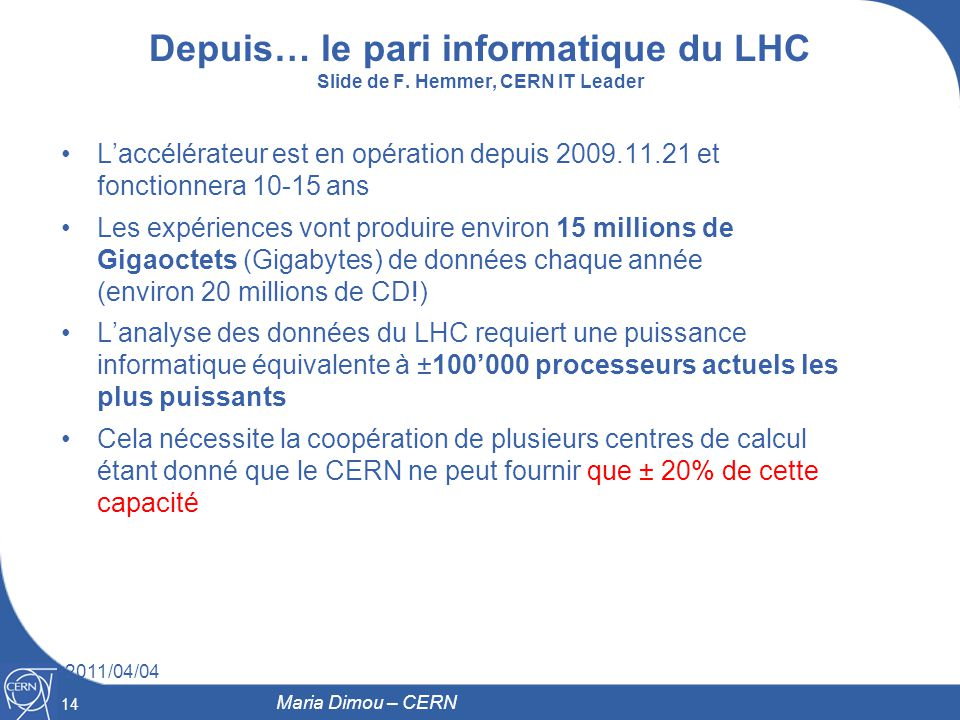 Depuis… le pari informatique du LHC Slide de F. Hemmer, CERN IT Leader