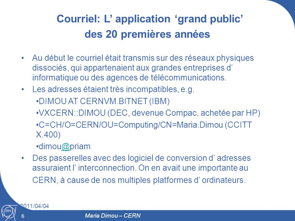 Courriel: L' application 'grand public'