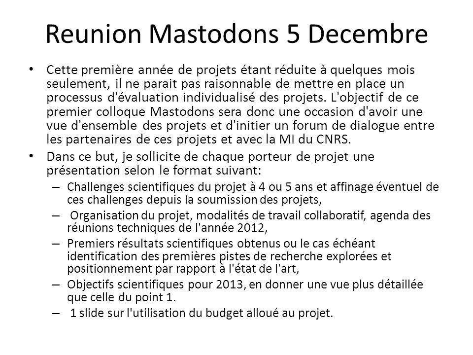 Reunion Mastodons 5 Decembre