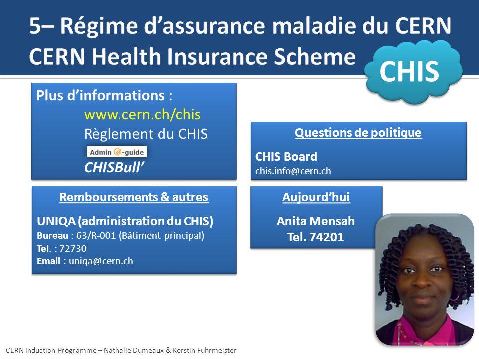5– Régime d'assurance maladie du CERN CERN Health Insurance Scheme