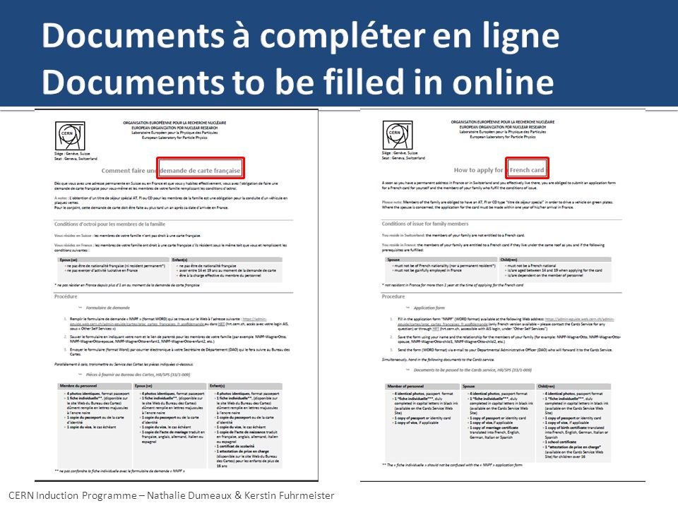 Documents à compléter en ligne Documents to be filled in online