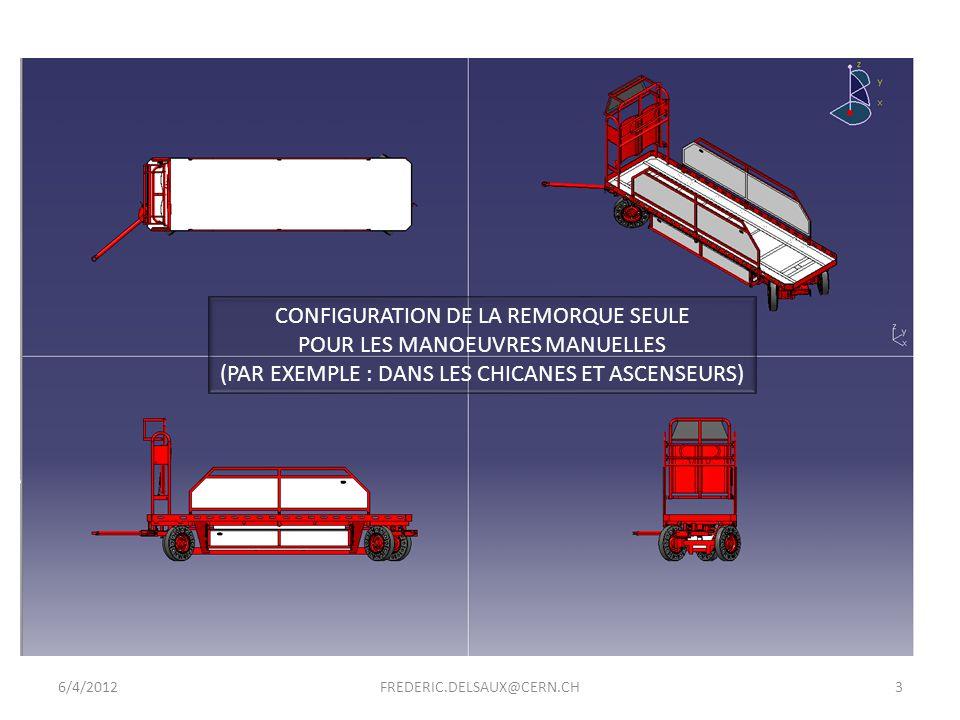 CONFIGURATION DE LA REMORQUE SEULE POUR LES MANOEUVRES MANUELLES