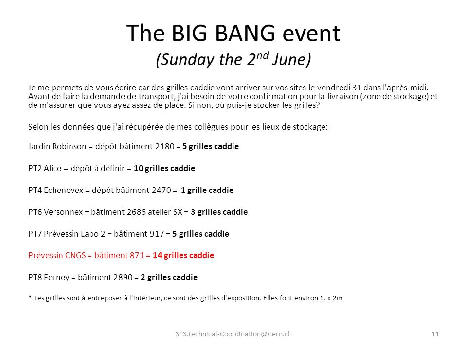 The BIG BANG event (Sunday the 2nd June)