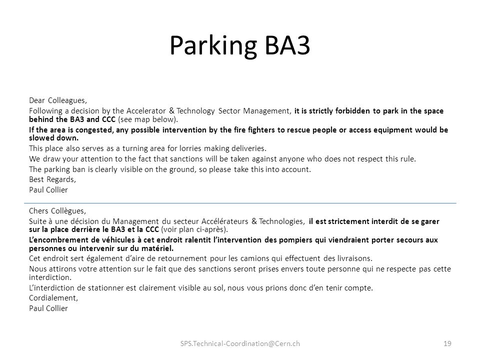 Parking BA3 Dear Colleagues,