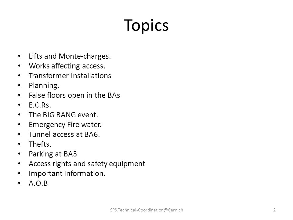 Topics Lifts and Monte-charges. Works affecting access.