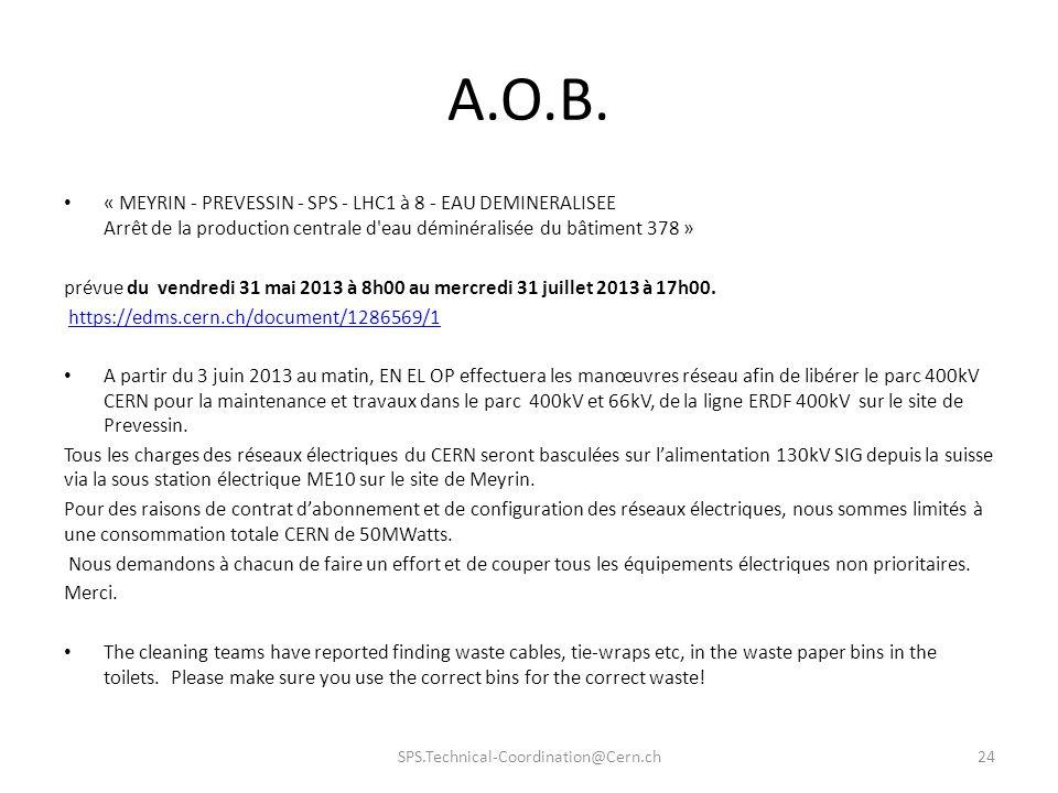 A.O.B. « MEYRIN - PREVESSIN - SPS - LHC1 à 8 - EAU DEMINERALISEE Arrêt de la production centrale d eau déminéralisée du bâtiment 378 »