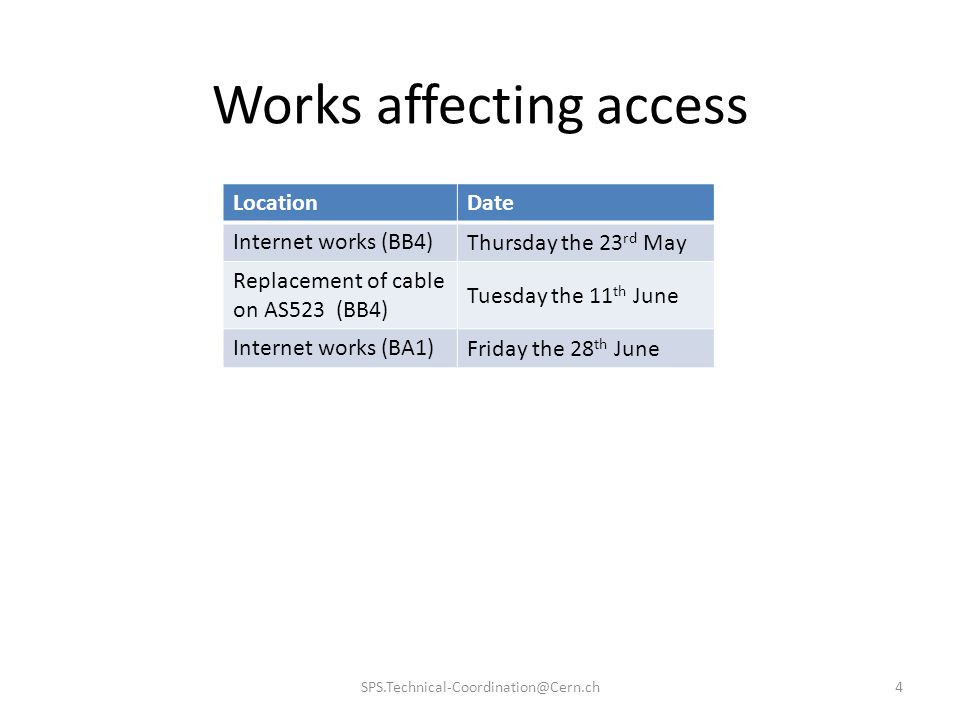 Works affecting access