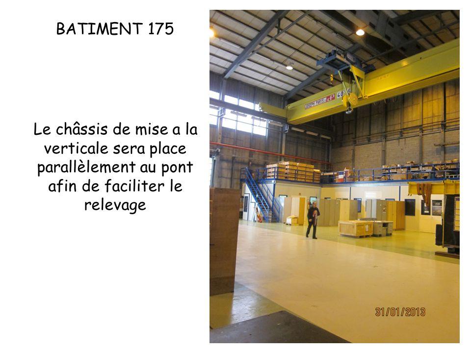 BATIMENT 175 Le châssis de mise a la verticale sera place parallèlement au pont afin de faciliter le relevage.