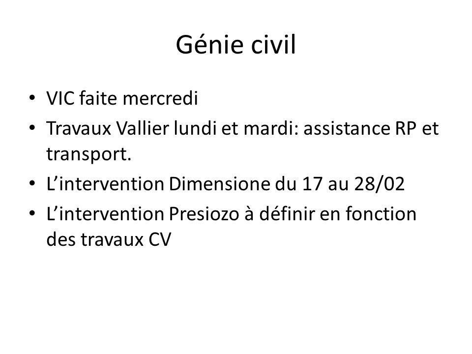 Génie civil VIC faite mercredi