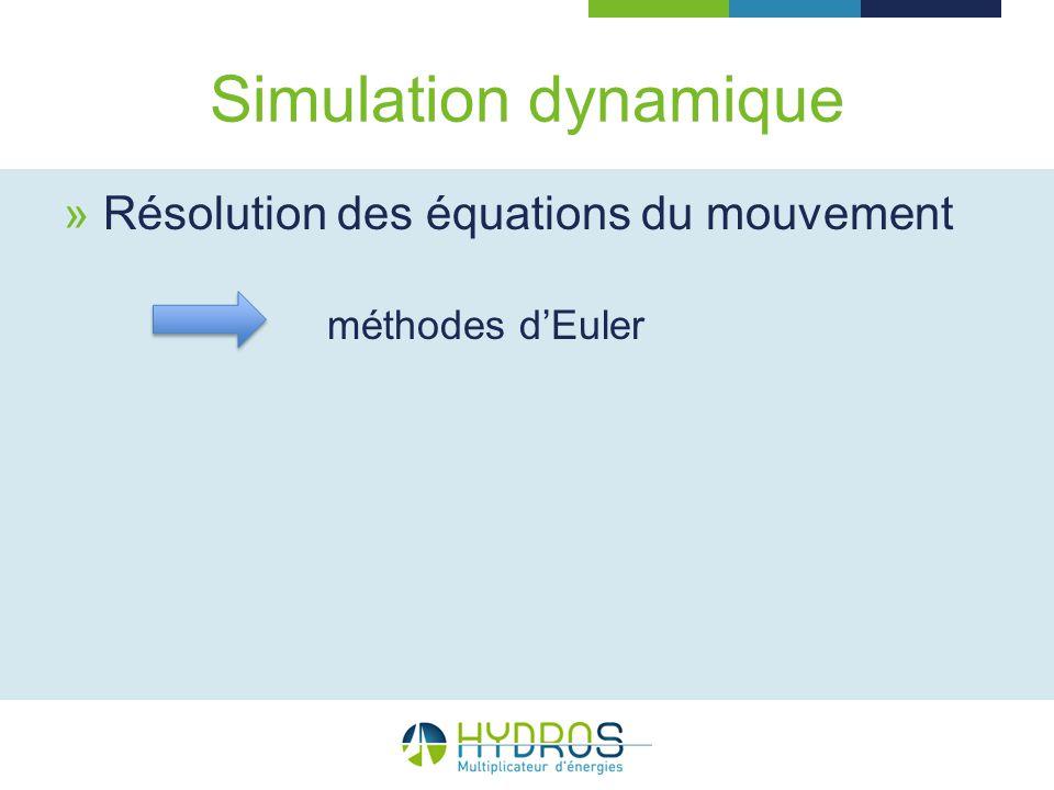 Simulation dynamique Résolution des équations du mouvement