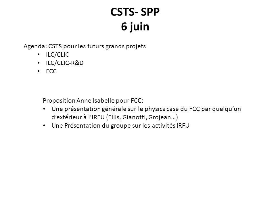 CSTS- SPP 6 juin Agenda: CSTS pour les futurs grands projets ILC/CLIC