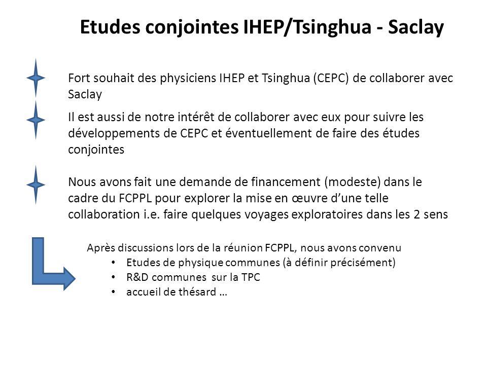 Etudes conjointes IHEP/Tsinghua - Saclay