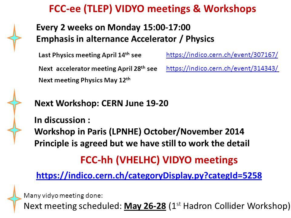 FCC-ee (TLEP) VIDYO meetings & Workshops