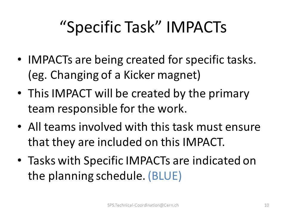 Specific Task IMPACTs