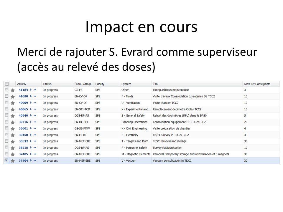 Impact en cours Merci de rajouter S. Evrard comme superviseur (accès au relevé des doses)
