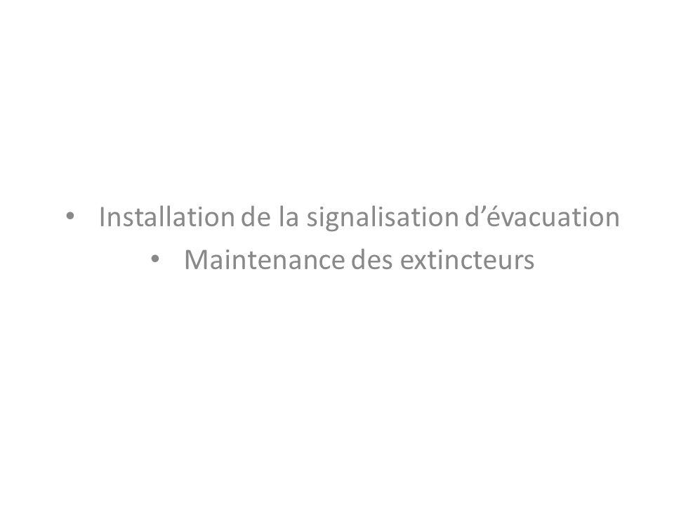 Installation de la signalisation d'évacuation