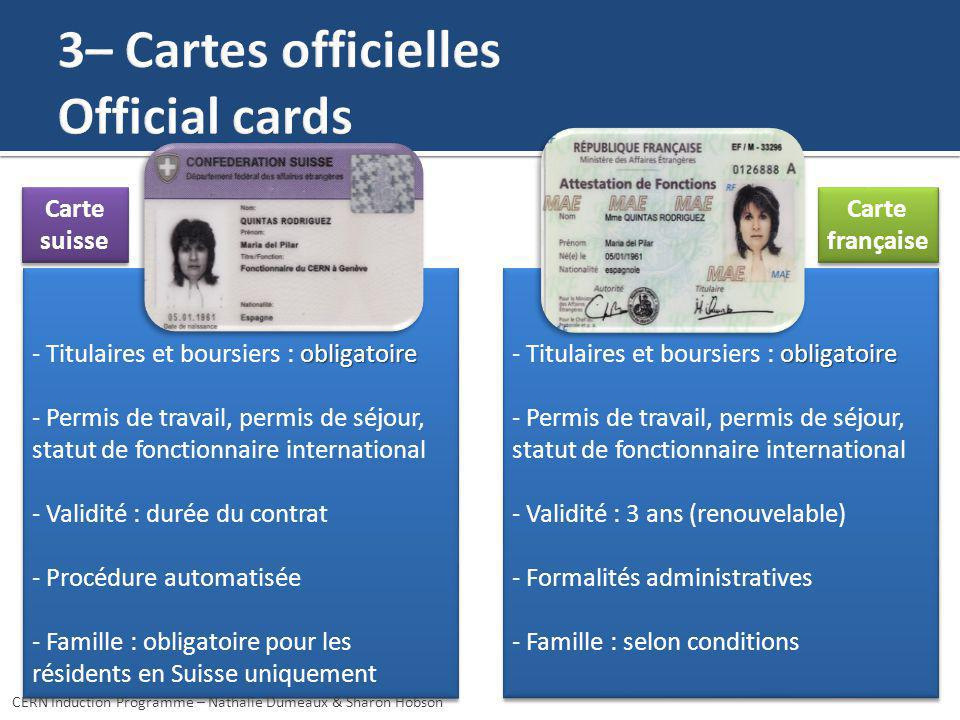 3– Cartes officielles Official cards