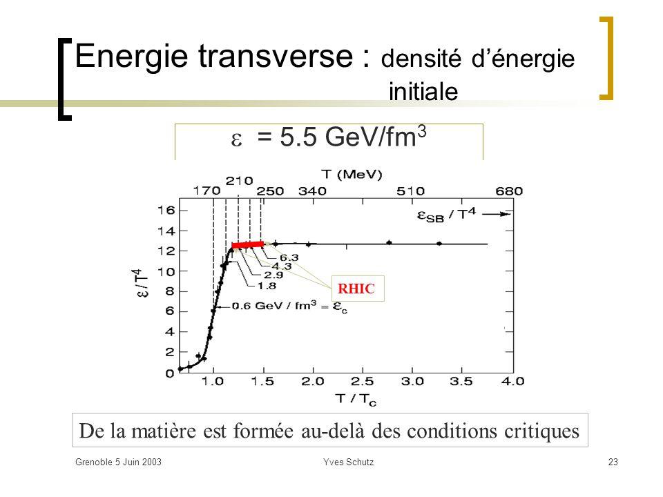 Energie transverse : densité d'énergie initiale