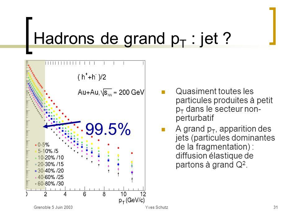 Hadrons de grand pT : jet
