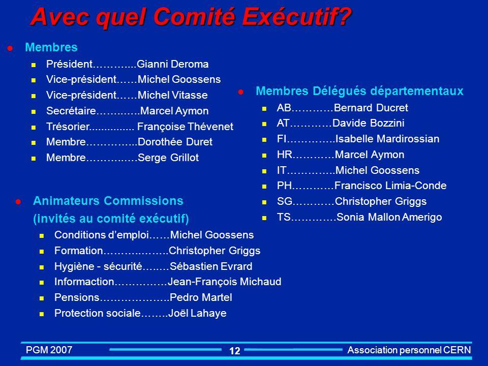 Avec quel Comité Exécutif