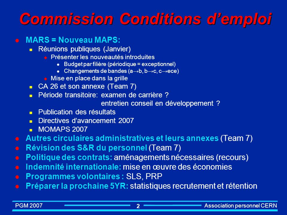 Commission Conditions d'emploi