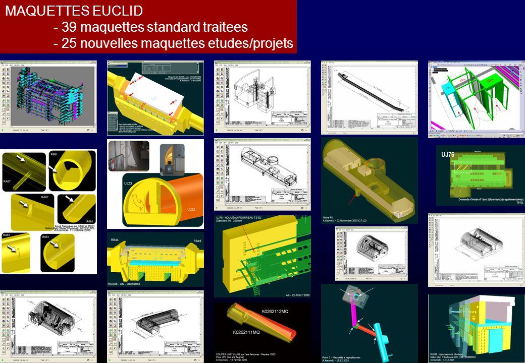 MAQUETTES EUCLID - 39 maquettes standard traitees - 25 nouvelles maquettes etudes/projets