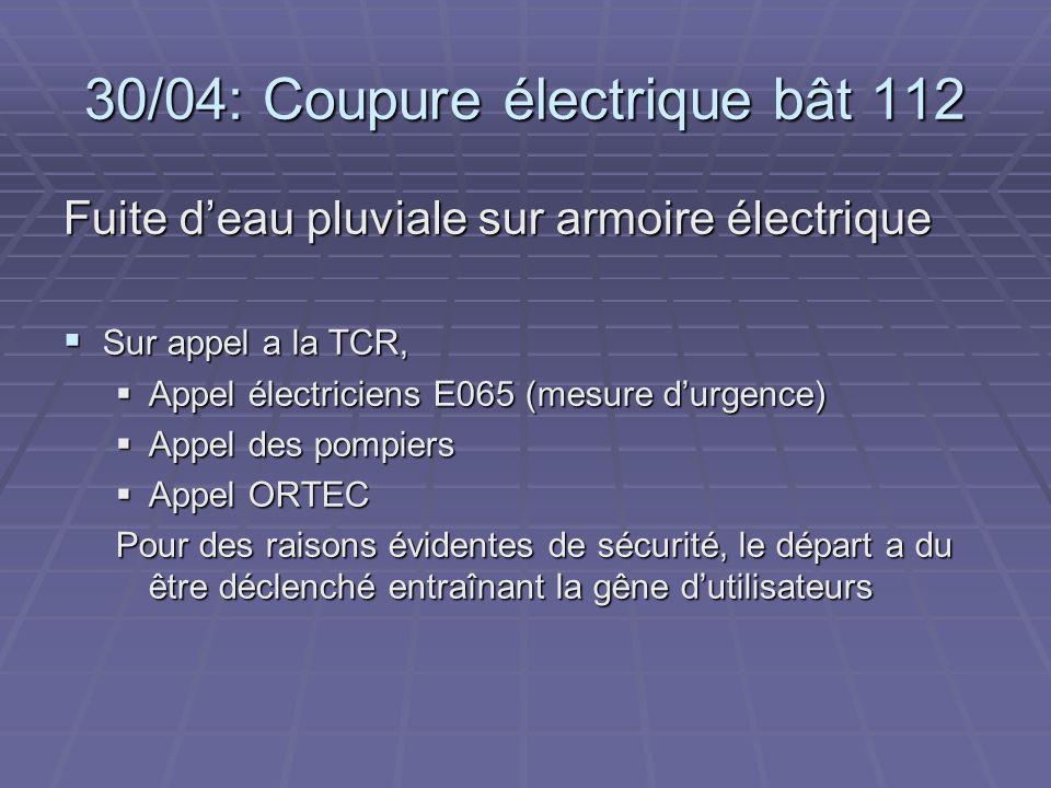 30/04: Coupure électrique bât 112