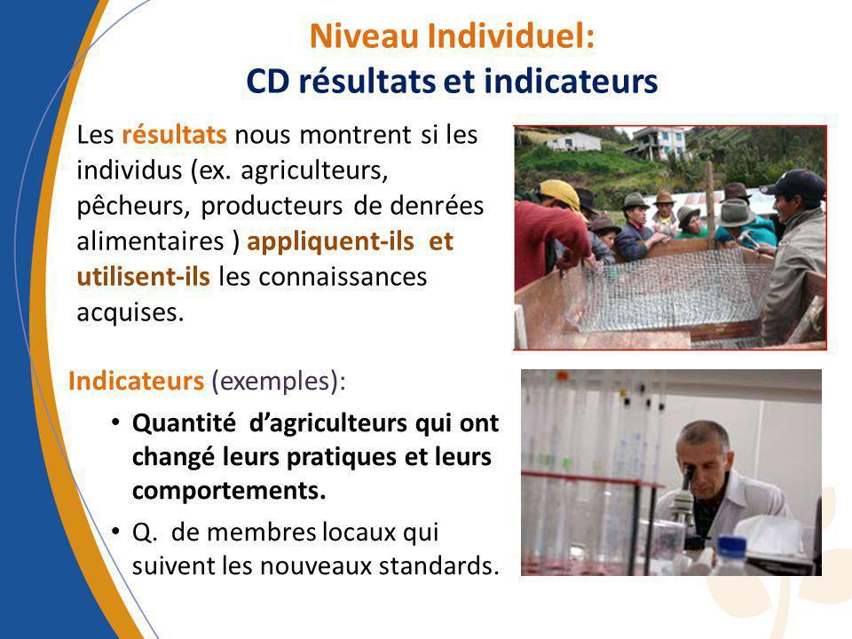 Niveau Individuel: CD résultats et indicateurs