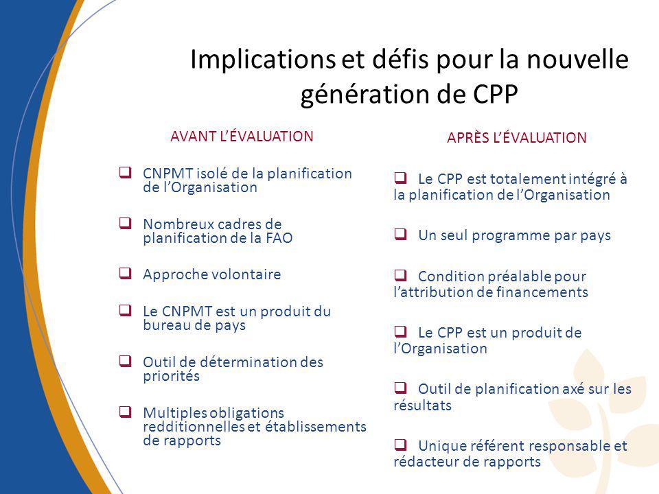 Implications et défis pour la nouvelle génération de CPP