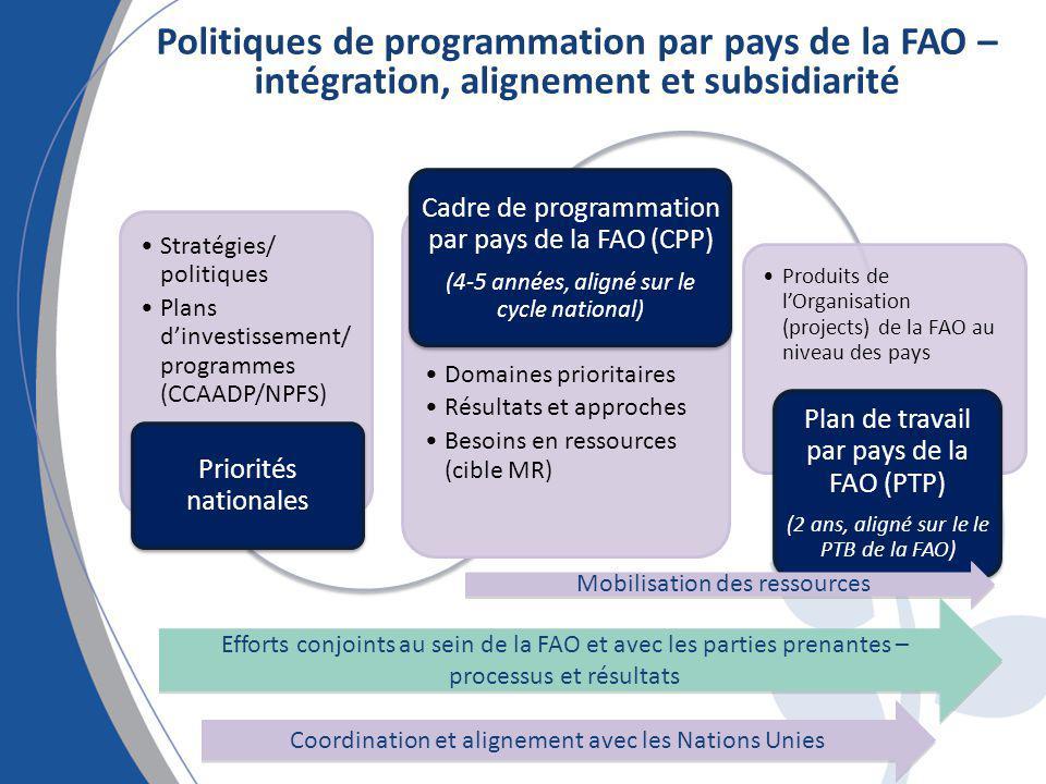 Politiques de programmation par pays de la FAO – intégration, alignement et subsidiarité