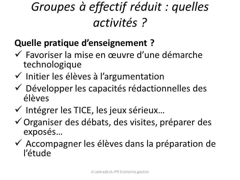 Groupes à effectif réduit : quelles activités