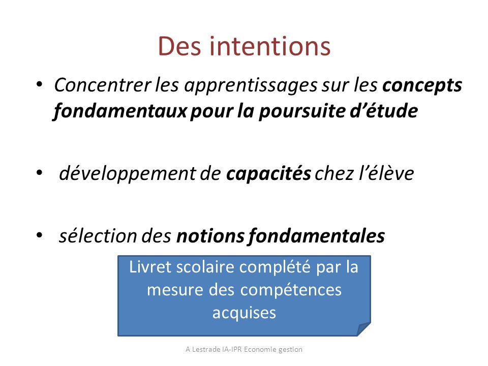 Des intentions Concentrer les apprentissages sur les concepts fondamentaux pour la poursuite d'étude.