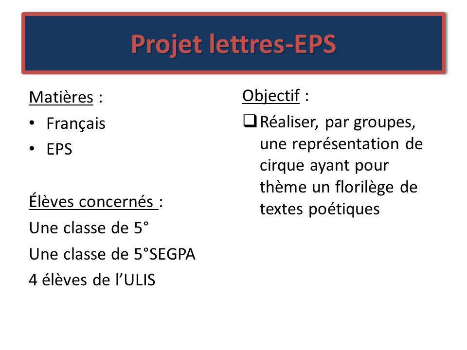 Projet lettres-EPS Matières : Objectif : Français
