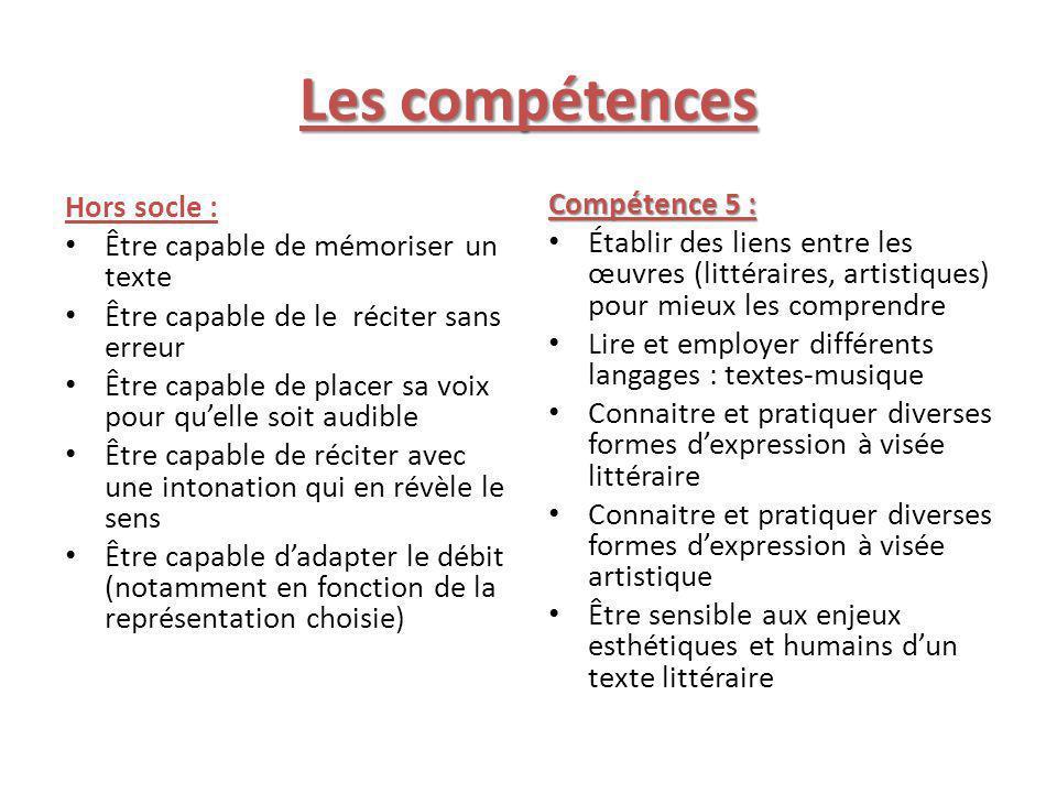Les compétences Hors socle : Compétence 5 :
